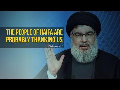 The People Of Haifa Are Probably Thanking Us   Sayyid Hasan Nasrallah   Arabic sub English