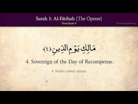 Quran: 1. Surah Al-Fatihah (The Opener): Arabic and English translation HD